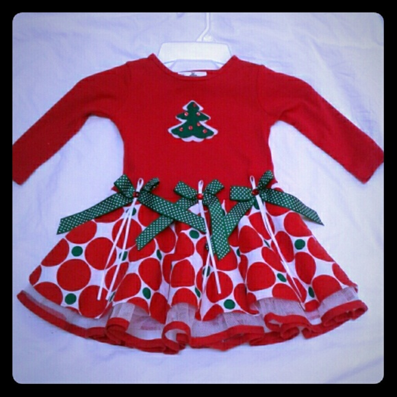 Rare Editions Christmas Dresses.Rare Editions Red Christmas Dress Fancy Tree 2t